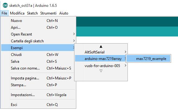 esempi libreria arduino max7216 array