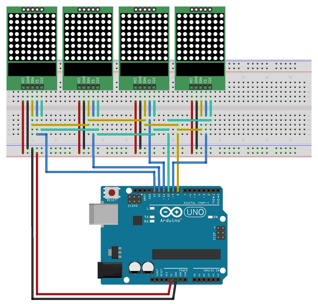 Matrice led virtuale con matrici multiple per arduino